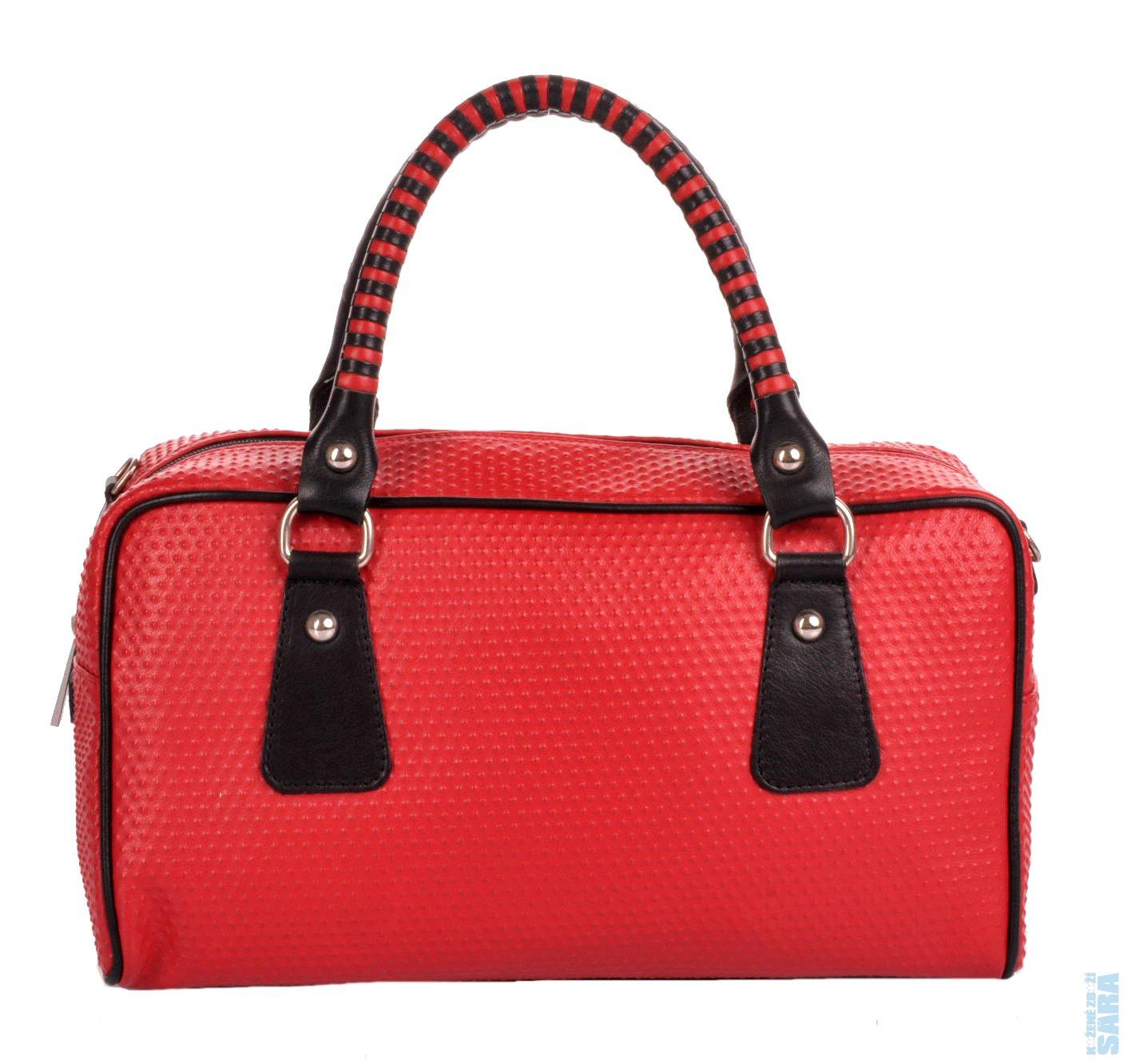 Dámská kožená kabelka 42177 červeno černá b989e85c3de