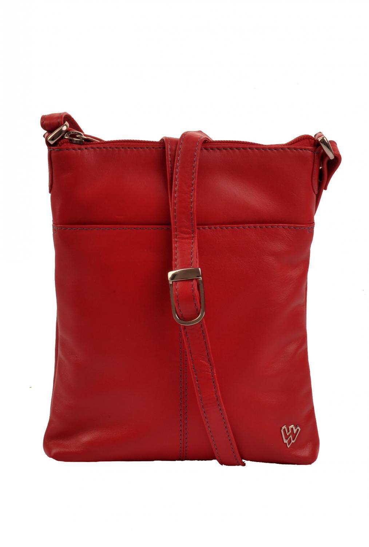 Kožená kabelka malá 213-3013 červená - kovové logo f7f078df775