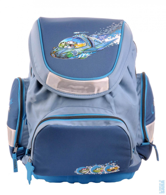c9ac9628912 školní batoh s klopou 017026 - modrý - motiv žába v raketě