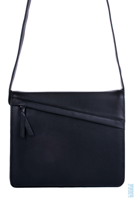 39a83cd7e5 Dámská kožená crossbody klopnová kabelka 231-4005 černá P.