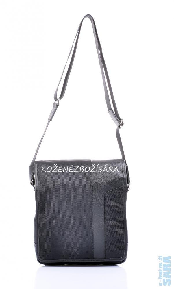 Pánská taška přes rameno 51205 černá - kůže + textil e688a4b91a