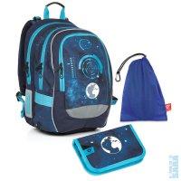 816cfc78b58 Školní batoh CHI 799 D blue - jednopatrové pouzdro CHI 813 D + pytlík na  přezůvky